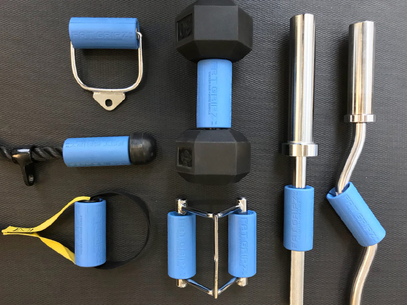 fat gripz attached to various gym equipment
